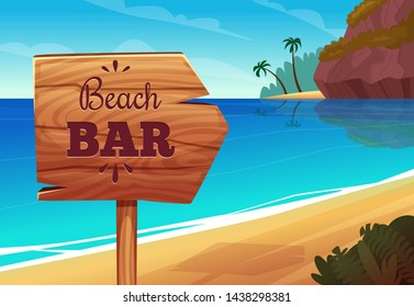 Summer background with wooden signboard on the beach. bar signboard on sea coast illustration