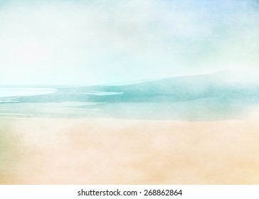 Summer beach. Abstract watercolor background