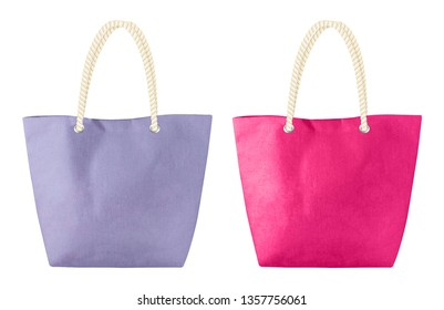 summer beach bag, tote bag, shopping bag mockup with fabric texture isolated on white background