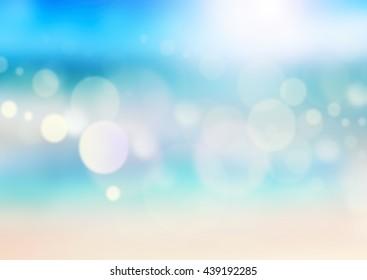 Summer beach design illustration.Sand and sea landscape blur background.