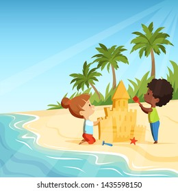 Summer beach and funny happy kids playing with sand castles. Sandcastle building, activity game illustration