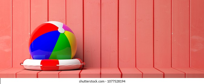 Summer beach holidays and safety. Life buoy and beach ball on wooden background, banner, copy space. 3d illustration