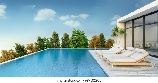 Summer ,beach lounge, sun loungers on Sunbathing deck and private swimming pool and  panoramic sea view at luxury villa / 3d rendering