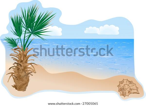 Summer beach with palm