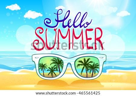 8c812905617 Summer Beach Sunglasses Background Illustration Art Stock ...