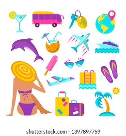 Summer beach vacation elements set. Woman in bikini and hat sunbathing. Cruise liner, flip flops, hotel room key, tourist bus and other  illustration. Tropical relaxation at seascape accessories