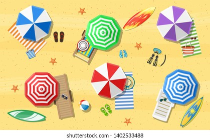 Summer Beach Vacation Sunbed With Umbrella Sand Tropical Banner Raster version.