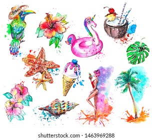 Summer beach watercolor clip art in playful design with illustrations of sexy girl, inflatable unicorn, starfish, seashells, coconut cocktail, tropical flowers, palm tree, funny exotic bird