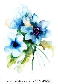 Summer blue flowers, watercolor illustration