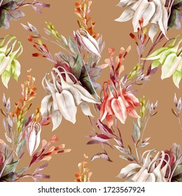 Summer Bouquet Seamless Pattern. Watercolor Illustration with Columbine Flowers.