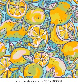 Summer bright seamless pattern with lemons - slices and whole fruits. Fruit fabric design in impressionism style. Repeat background.