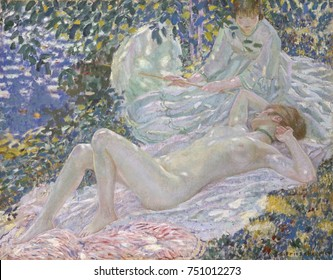 SUMMER, by Frederick Carl Frieseke, 1914, American painting, oil on canvas. The nude is painted with traditional form, while the rest of the painting, including her clothed companion are treated with