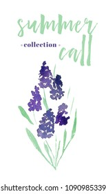 Summer call collection.  Watercolor element in white background. Botanical illustrations. isolated element.  floral elemnt for your design. Lavander bouquet foe your design.