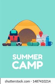 Summer camp banner. Flat illustration