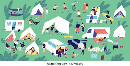 Summer camp festival. People or tourists living in tents, travel trailers and camper vans, cooking and eating food outdoor, playing, talking to each other. Flat cartoon colorful illustration