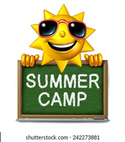 Summer camp message on a school chalk board with text written as a symbol of after school recreation and fun education with a happy sun character as an icon for childhood success.
