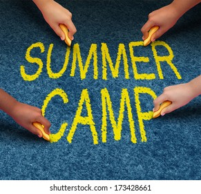 Summer camp with multiethnic school kids drawing words on a pavement outdoor floor as a symbol of recreation and fun education with a group of children working as a team for learning success.
