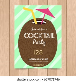 Summer cocktail poster template