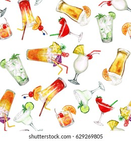 Summer Cocktails.Watercolor seamless pattern.