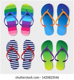 Summer Colorful Flip Flops Set Transparent Background