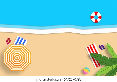 Summer concept. Gold sandy beach, sea and relax places. Handmade, paper composition.