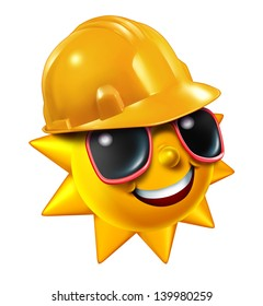 Summer construction and renovation work projects in the hot season as a happy sun character with sunglasses wearing a yellow worker protective hard hat isolated on a white background.