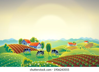 Summer countryside landscape with herd of cows and village.