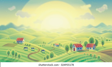Summer dawn rural landscape with village in carton style.