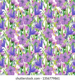 Summer, easter, birthday, spring, wedding seamless pattern with flowers (crocus, snowdrops,skiff) and leaves. Hand drawn watercolor and colored pencils illustration.