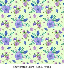 Summer, easter, birthday, spring, wedding seamless pattern with flowers (crocus, snowdrops, skiff) and leaves. Hand drawn watercolor and colored pencils illustration.