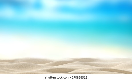 Summer exotic sandy beach with blur sea on background