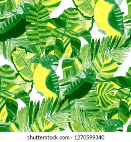 Summer exotic seamless pattern. Floral background with tropical leaves, flowers and birds. Hand drawn texture. Surface design.
