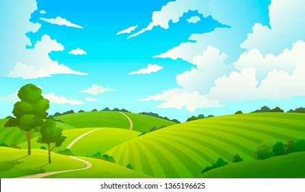 Summer field landscape. Nature hills fields blue sky clouds sun countryside. Green tree and grass rural land. Cartoon