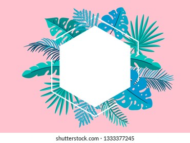 Summer floral frame tropical leaves palm with place for text. color design elements for print, greeting card. isolated illustration on pink background