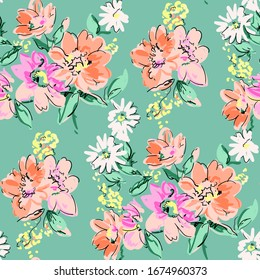 Summer flowers bloom colorful print pattern illustration