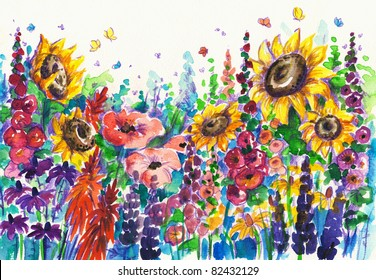 Summer flowers in garden.Picture I have created with watercolors.