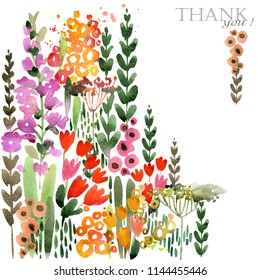 Summer flowers painted watercolor illustration. greeting card. blossoming fields
