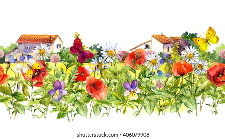 Summer flowers (poppies, chamomile), meadow grass, butterflies and farm houses. Floral border. Watercolor. Seamless frame in rural style