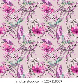Summer Flowers Seamless Pattern. Watercolor Background. Hand Painted Illustration.