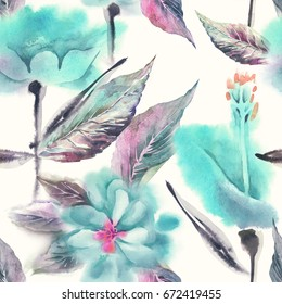 Summer Flowers Seamless Pattern. Watercolor Background.