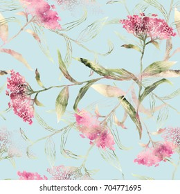 Summer Flowers Seamless Pattern. Watercolor Background. Design Template.