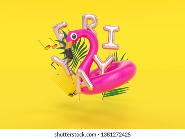 Summer Friday weekend holidays, travel concept, beach accessories, Friyay inflatable foil balloon letters and pink flamingo, 3d rendering