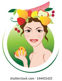 Summer girl with fruits.
