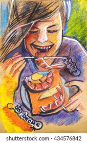 summer grill,  ink and pencils original drawing on recycle paper