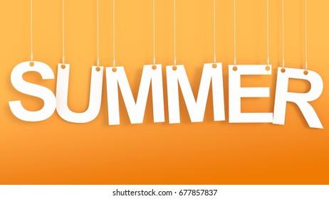 Summer hanging Letters over orange background 3D rendering