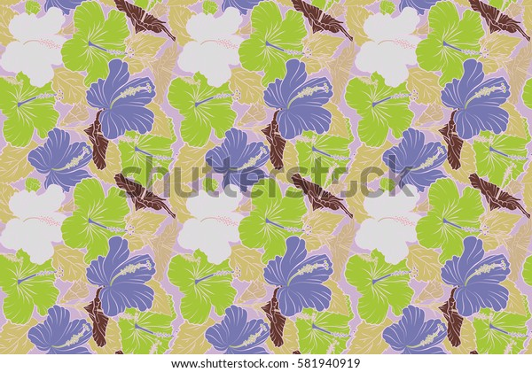 Summer hawaiian seamless pattern with tropical plants and violet and green hibiscus flowers. Seamless Raster illustration.