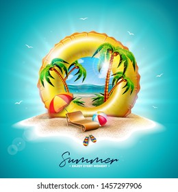 Summer Holiday Illustration with Yellow Float and Exotic Palm Trees on Tropical Island Background. Flower, Beach Ball, Sunshade and Blue Ocean Landscape for Banner, Flyer, Invitation, Brochure