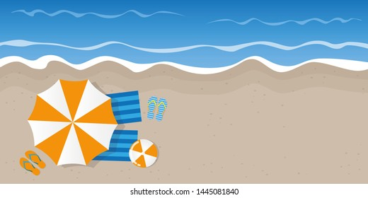 summer holiday on the beach top view with parasol flip flops and ball illustration
