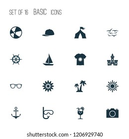 Summer icons set with sunglasses, anchor, palms and other blouse elements. Isolated  illustration summer icons.