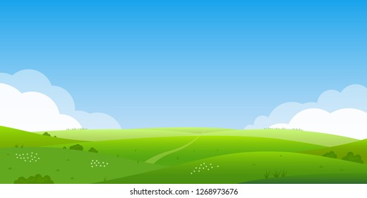 Summer landscape background. Field or meadow with green grass, flowers and hills. Horizon line with blue sky and clouds. Farm and countryside scenery.